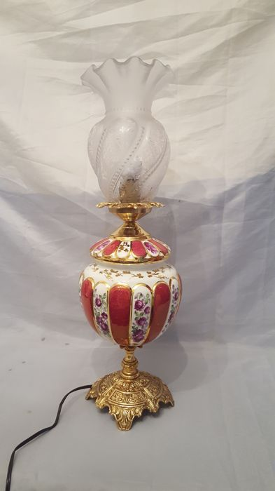 ( 60 cm Height),French porcelain table lamp with flowers motif.Paris apartment .