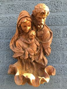 Heavy wall ornament holy water font with Joseph, Mary and Jesus, Italy, cast iron, 19th century