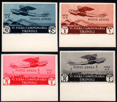 Italian Colonies, Libya, 1932 - 6th Tripoli International Fair - Air Mail - Luxury proofs - Complete series of 4 stamps.