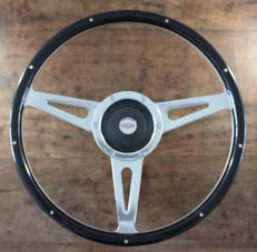 Beautiful Original Mountney Riveted Dark Wood 15 inch (38cm) Steering Wheel with Jaguar Boss