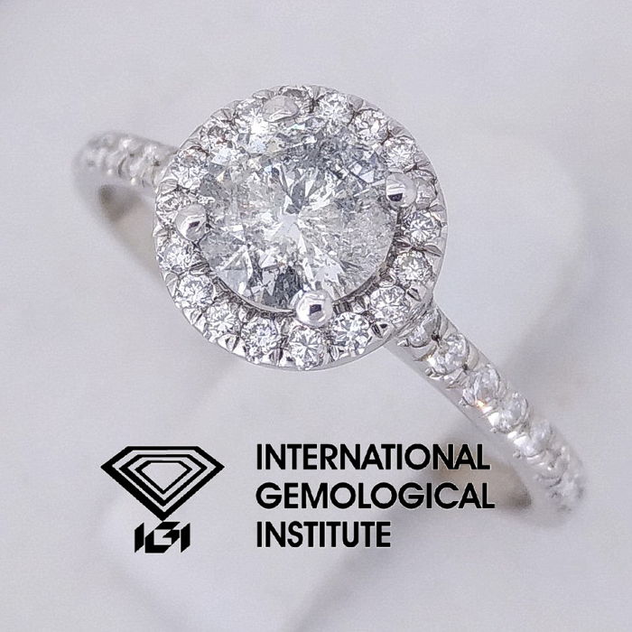 IGI 0.80 carat total, Diamond Engagement Ring Round Brilliant Cut  size 52 / 16.50 mm***Free Resize***
