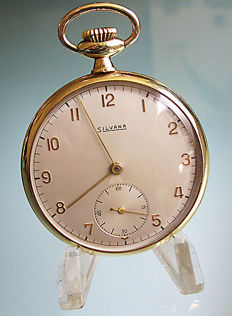 Silvana pocket watch, around 1930, + gold-coloured chain