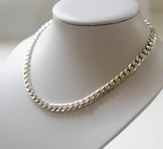 Solid tank necklace made of 925 silver - length:  44 cm