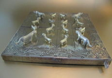 Oriental board game with tiger and goats