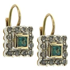 14 kt yellow gold earrings 14 kt with diamonds Diamonds 0.20 ct and emerald