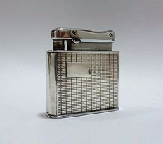 Automatic petrol lighter, automatic mechanism, chromed metal, silver case, Fbelo Monopol, Made in Germany - Art Decó