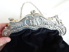 Beautiful large size silver bracket with silver chain and velvet bag.