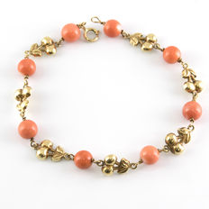750/1,000 (18 kt) yellow gold - Natural Pacific Coral - Length: 17 cm (approx.)