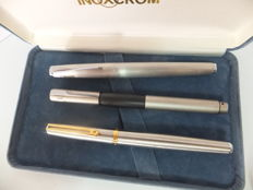 Inoxcrom Wall Street Pen - Silver / Gold, boxed & Lamy Fountain pen + Lamy rollerball