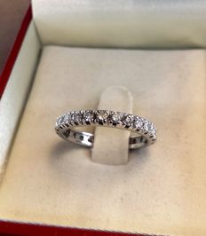 Eternity ring in gold and natural diamonds (1.04 ct) – size:  18 (diameter 18.50 mm)