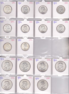 The Netherlands – 1 guilder coin 1954/1967 + 2½ guilder coin 1959/1966 Juliana (17 different) – silver