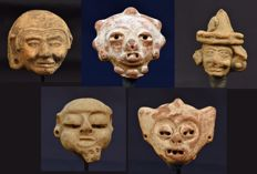 Pre-Columbian Mayan Terracotta heads 5 Pcs.