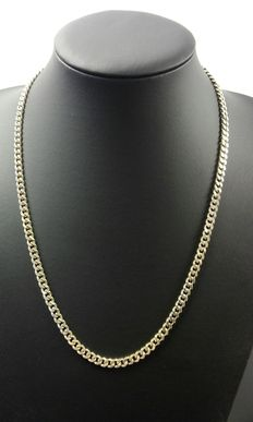 Silver curb link necklace, 925k. Length: 57 cm, width: 0.5 cm, Weight: 36.7 g