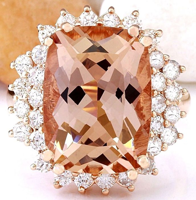No Reserve Exclusive 9 60carat Natural Morganite And Diamond