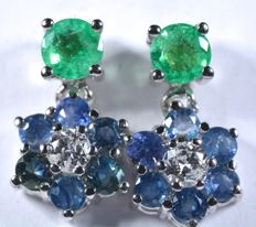 18 kt Earrings in white gold with 0.16 ct of diamonds, 0.50 ct of natural, exquisite emeralds, and 0.95 ct of blue sapphire. Length: 13.40 mm.  No reserve price