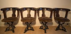 4 yacht chairs with cast iron foot and mahogany construction and fabric seat