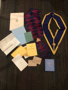 Collection of Masonic Scarfs books paper work from estate clearance