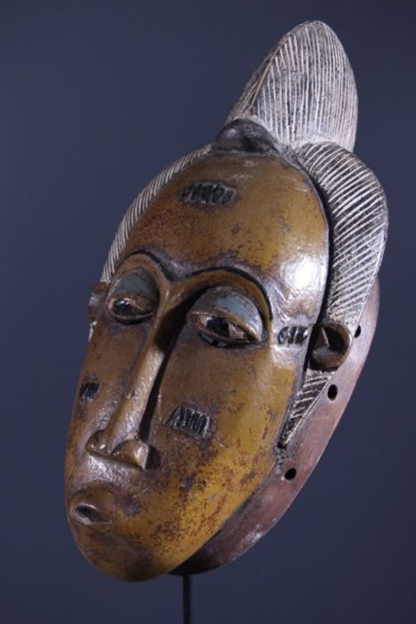 BAOULE Tribal Mask - Origin: COTE D'IVOIRE - Made of Wood