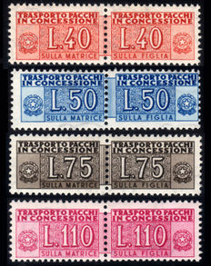 Republic of Italy 1953, Concession parcels, wheel, complete set, 4 values