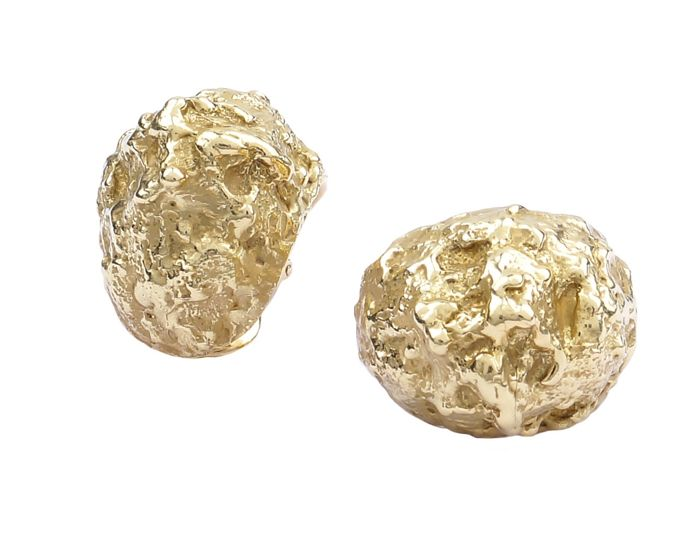 "David Webb ""Gold Nugget"" Signature Lobe Earrings"