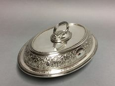 Antique silver plated double serving tray with removable knob, M.H&Co, England, Edwardiaans, approx. 1910