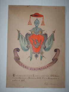 Coat of arms family Arma Boncompagni, Italy - Watercolour on cardboard - second half of the 19th century