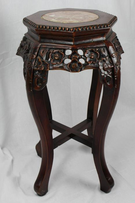 Chinese Side Table.Chinese Wooden Side Table With A Marble Tabletop China 20th