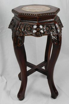 Chinese wooden side table with a marble tabletop – China – 20th century