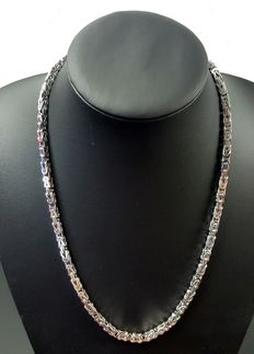 Silver Byzantine link necklace, length: 55 cm, width: 4 mm, weight: 70 g, 925k