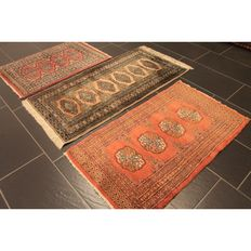 Three hand-knotted Persian carpets, Pakistan, Bukhara, 90 x 62cm / 110 x 62 cm / 125 x 62cm, made in Pakistan, carpet set, runner, Oriental rug