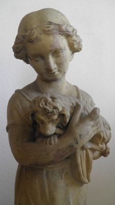 Large and beautifully made terracotta sculpture of a girl with a dog- late 19th century