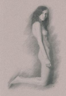 Original work; Arthur Smith - Brunette nude model kneeling - 2017