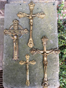 Fate of four crucifixes, bronze - the Netherlands - early 20th century