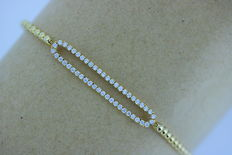 Yellow gold bracelet set with diamonds, 0.50 ct in total