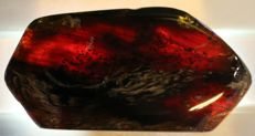 "Blue amber - ""Standing plate""- partially transparent - Multi-coloured - 115 x 60 x 27mm - 99 gm"