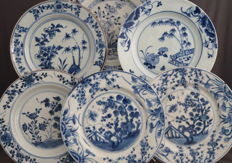 Collection of 6 different plates - China - 18th century