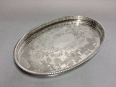 Silver plated oval serving tray with floral decoration and raised open worked edge, so-called gallery, Sheffield, England, ca 1915