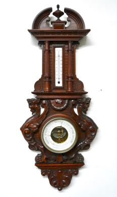 Walnut barometer - ca. early 1900s Aneroid