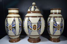 Auguste Mouzin & Cie (1878-1951) - Set of Art Deco ceramics