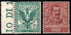 Kingdom of Italy - 1901 - Floral - 5 cent and 10 cent.