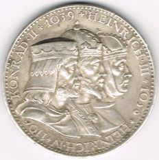 Weimarer Republik - Silver Medal 1930 by Karl Goetz commemorating to 900 Anniversary of Speyer Cathedral, 1030-1930.
