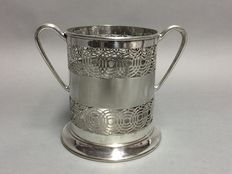 Silver plated holder for wine bottles with open work decoration, England, approx. 1920