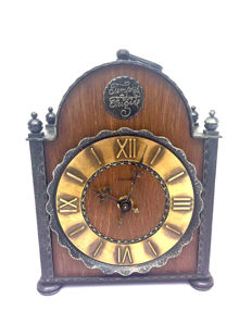Franz Hermle - Amsterdam School clock in partly wrought iron cabinet