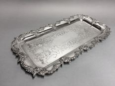 Impressive silver plated serving tray with florally decorated bottom, England, ca. 1910