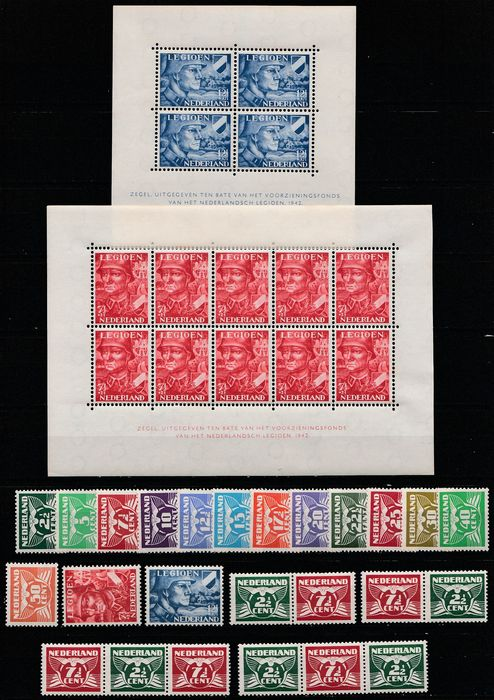 The Netherlands 1941/1942 - Flying pigeon and legion - NVPH 379/391, 379a/d, 402/403,, used for sale