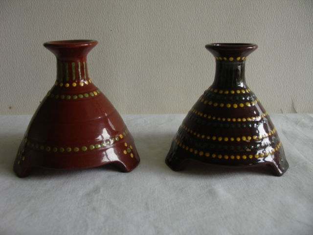 Chris van der Hoef - Two earthenware candlesticks