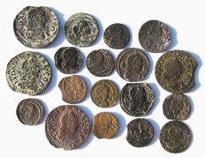 Spain – very rare lot of 18 coins of Luis XIII–XV – Kings of France and Counts of Barcelona – XVII
