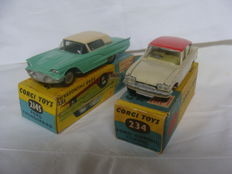 Corgi Toys - Scale 1/43 - Ford Thunderbird-No. 214S (Suspension) and Ford Consul Classic - No. 234