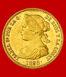 Spain – Isabel II (1833–1868) – 10 escudos gold coin – 1868 (* 18-68)  – Madrid