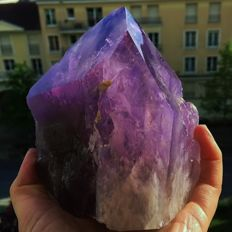 Large natural amethyst point - 14 x 14 x 13 cm  - 2067 gm